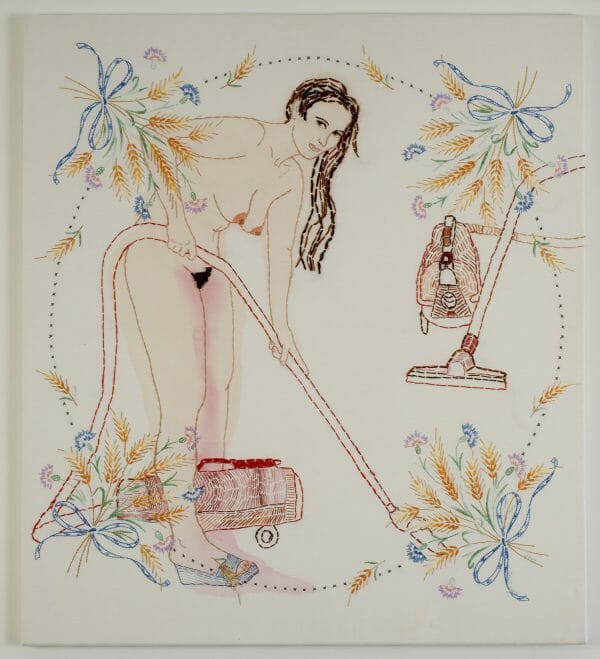 Orly Cogan - Woman's Work - hand embroidery on found fabrics