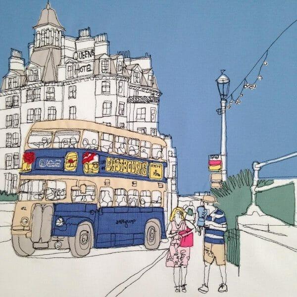 Gillian Bates - Eastbourne Bus - Machine Embroidery