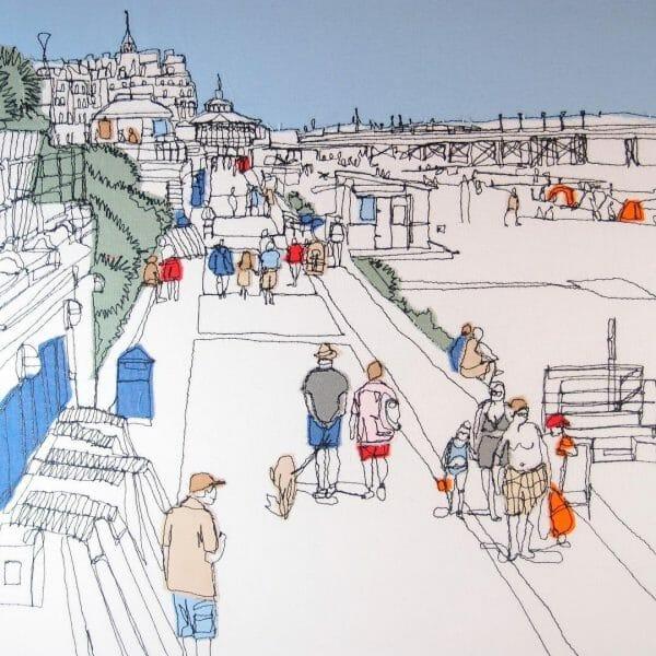 Gillian Bates - Eastbourne Promenade - Machine Embroidery