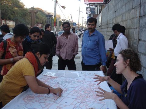 Liz Kueneke Bangalore embroidered social history map