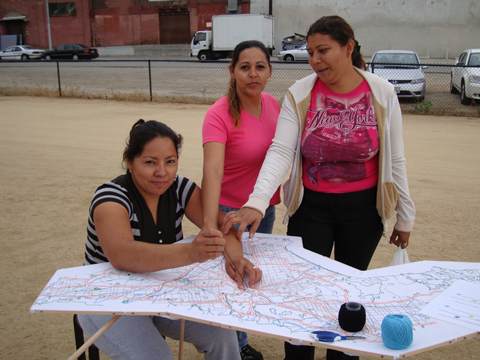 Liz Kueneke Los Angeles embroidered social history map