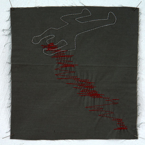 Silke Krah Chalk Outline Machine Embroidery