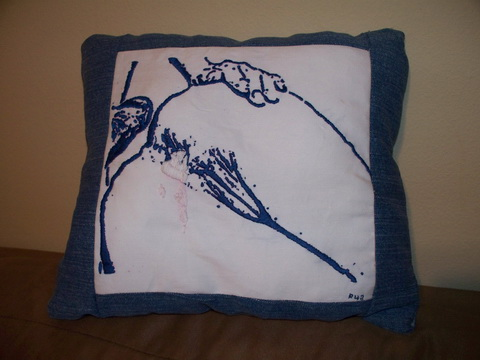 Hand Embroidered Cream Pie Cushion by Ruby 42