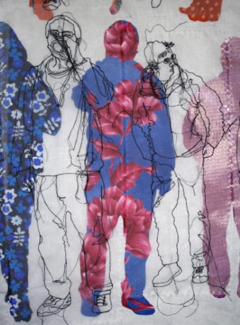 Rosie James - Tourists Contemplating the British Museum - Machine Embroidery (detail)