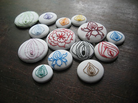 Hand Embroidered Pin Badges by Scarlet Tentacle