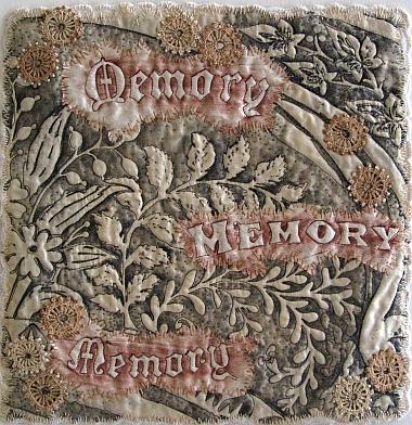 """Susan Lenz: """"Memory"""" miniature grave rubbing artquilt"""