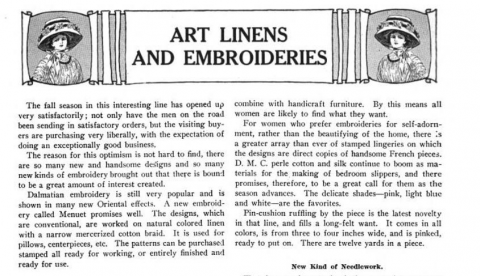 DMC Art Linen & Embroideries Advert