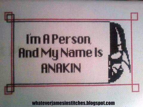 WhateverJames - Anakin, Star Wars cross stitch