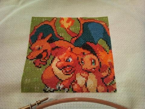 Holder of Anime - Pokemon Charmander cross stitch