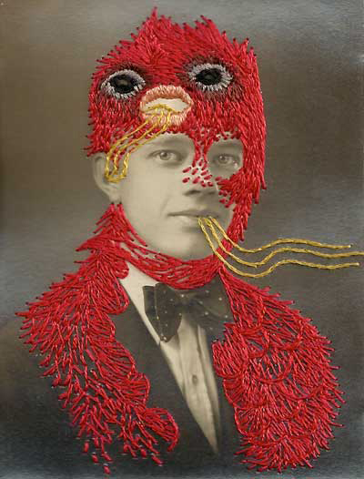 Stacey Page - Bobby - hand embroidery on photographs