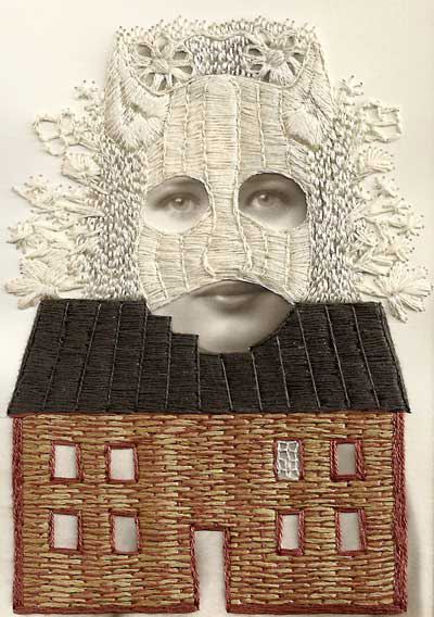 Stacey Page - Rachel - hand embroidery on photographs