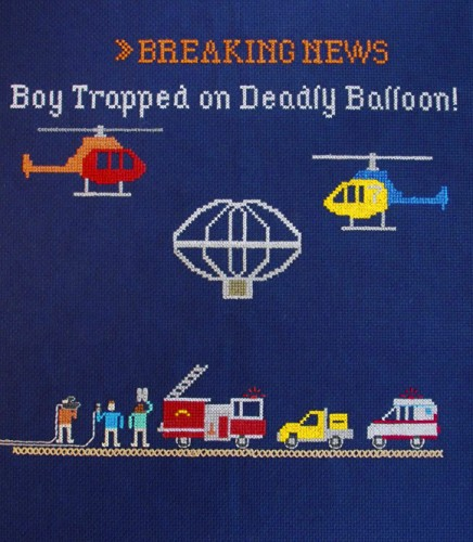 Emily Roose - Boy Trapped on Deadly Balloon cross stitch