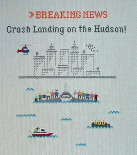 Emily Roose - Crash Landing on the Hudson cross stitch