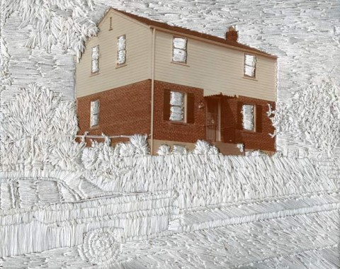 Jessica Wohl - House on a Hill hand embroidery on photographs