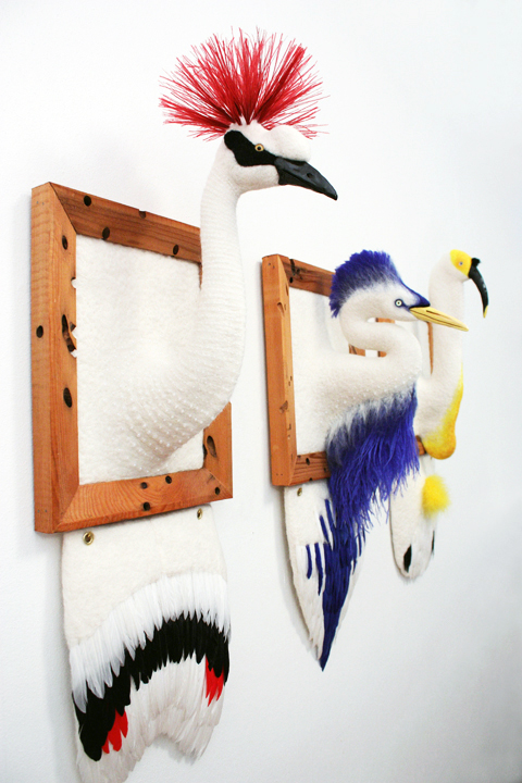 Zoe Williams - Crane-Egret-Ibis needle felted art