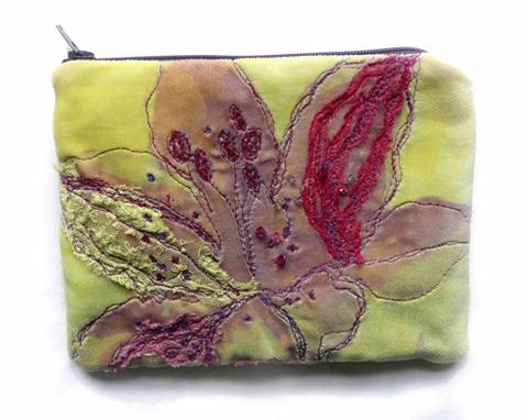 Elizabeth Kelley - Machine Embroidered Flower Purse