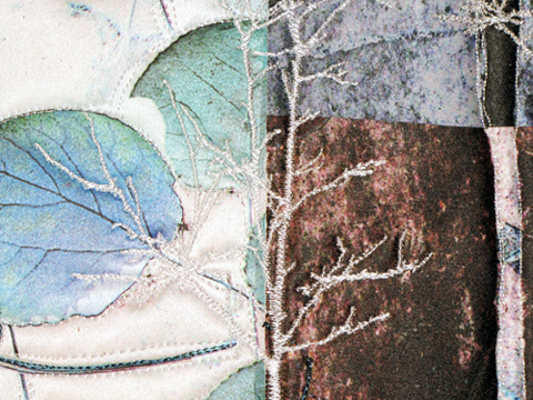 Charlotte Ziebarth - Autumnal Equinox #2 - Hint Of Frost - Machine Embroidered Art Quilt (detail)