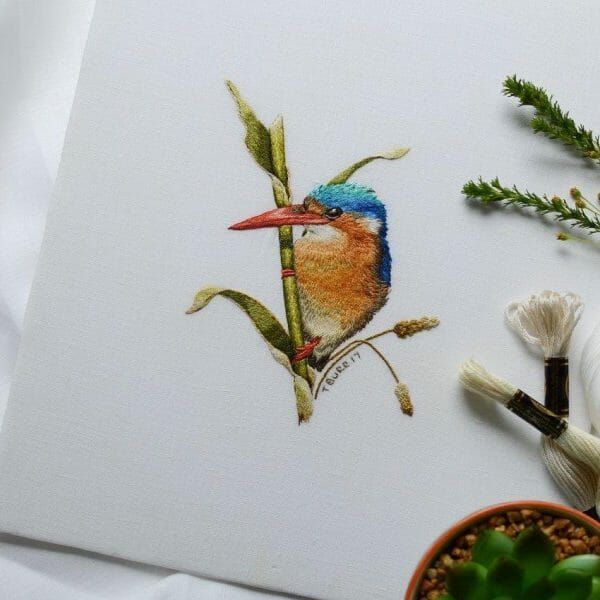 Trish Burr Kingfisher Hand Embroidery