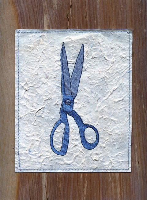 Ries Niemi - Scissors Embroidery Sketch - Machine Embroidery