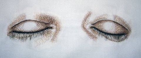 "Kate Kretz - ""Ebb."", 2006, human hair embroidery on pillowcase, 20 x 30 x 10"""