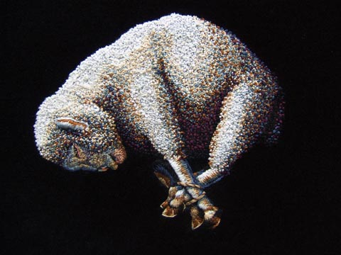 "Kate Kretz - ""The Final Word"", 2012, embroidery on black velvet, 20 x 16"""