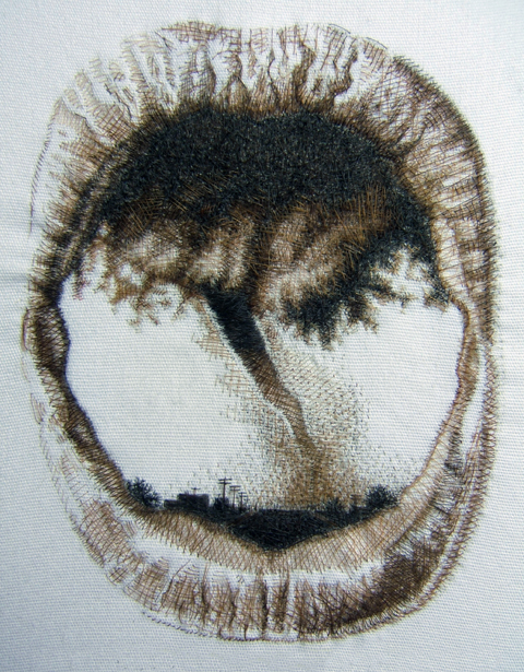 Kate Kretz - Oubliette I, 2006, human hair embroidery on cotton, convex glass, frame