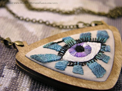 Mother Eagle's Midwinter Eye hand embroidery