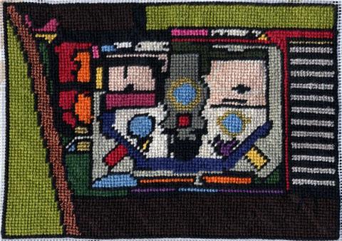 Pandora Vaughan - Brixton Prison needlepoint