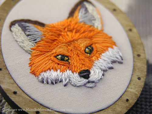 The Midwinter Fox Pendant, hand embroidery and birch wood by MotherEagle, on Flickr