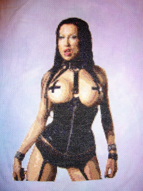 Dominatrix Diva cross stitch by Allison Tunis