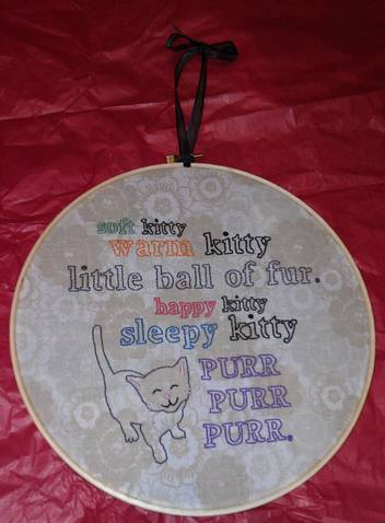 MThrasher's Hand Embroidered Kitty Song Hoopla