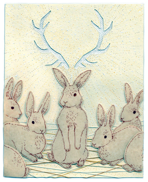 Miki Sato - Jackalope embroidered textile collage