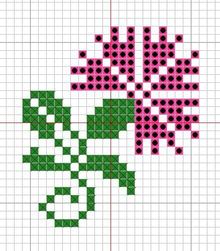 Combination colour and symbol cross stitch pattern