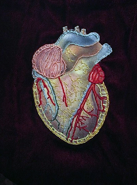 Rachel Harmeyer - Anatomical Heart - hand embroidered collage