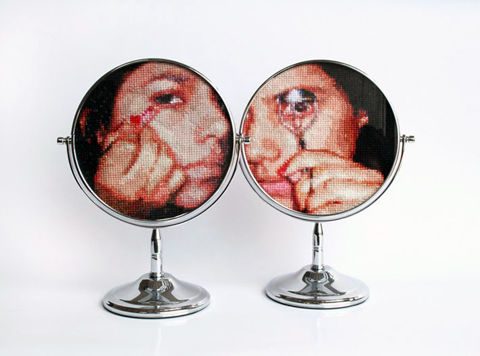 Ana Teresa Barboza -  Untitled -cross stitch on mirrors