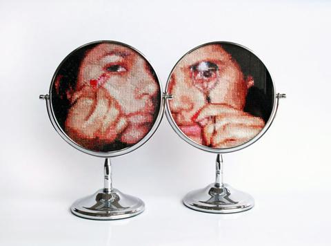 Ana Teresa Barboza - Untitled -cross stitch on mirrors