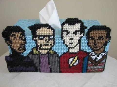 Casstasstrophe's Big Bang Theory Needlepointed Tissue Box Cover
