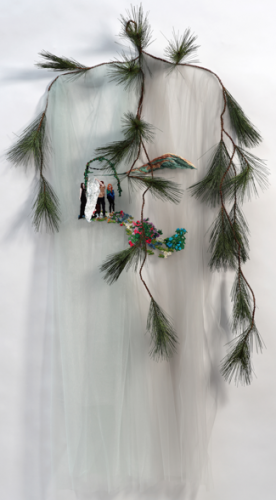 Our Path, 2011, Embroidery Thread, Fabric, Artificial Evergreen Branch, Approx. 66 x 42 x 9 in