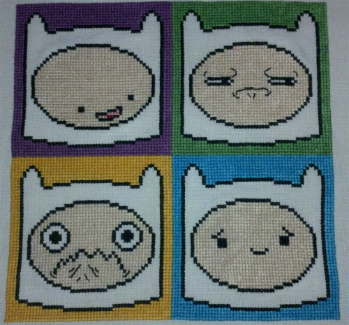 Starrley - Four Faces Of Finn The Human Cross Stitch Starrley