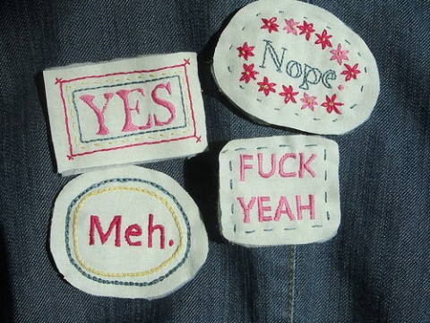 Embroidered Pin Badges by alisonannestitch