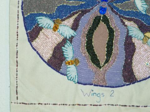 Lorrie Herranz, Wings 2 beaded embroidery detail
