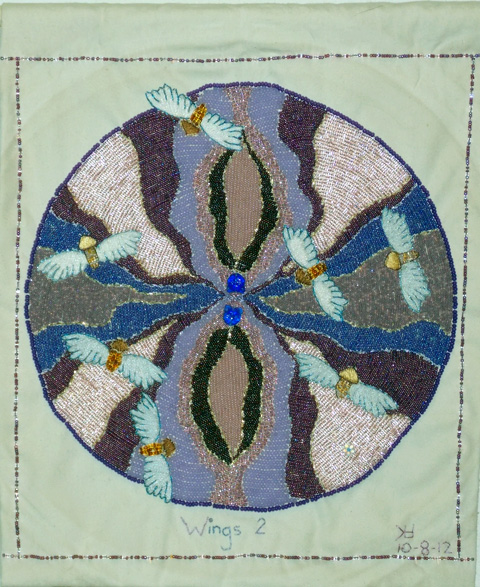Lorrie Herranz, Wings 2 beaded embroidery