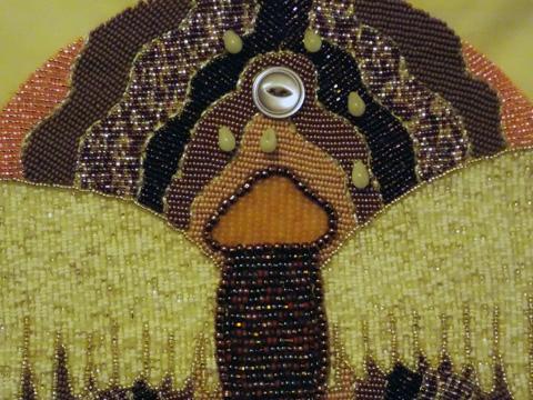 Lorrie Herranz, Wings 3 beaded embroidery detail