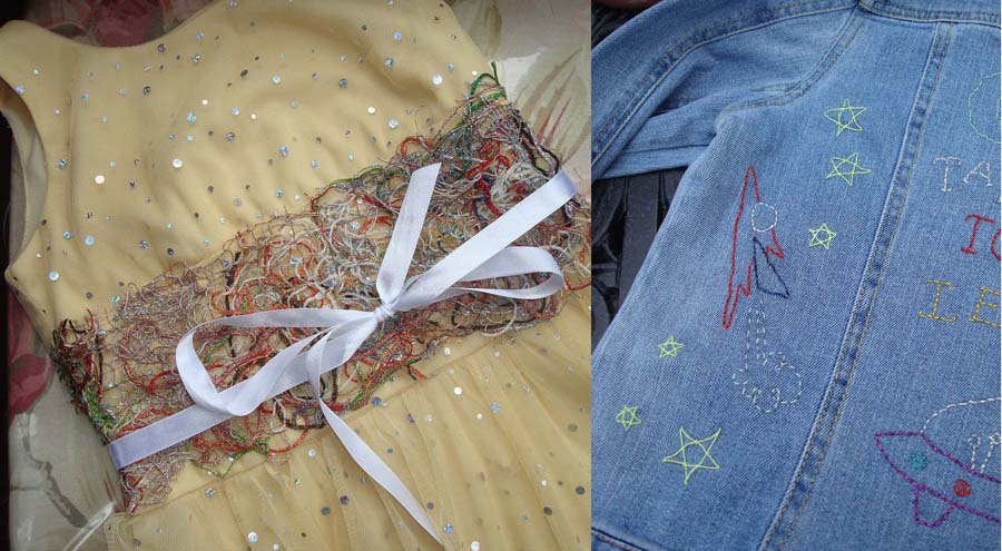 Machine embroidery or hand embroidery transforms metallic threads into colorful embellishments.