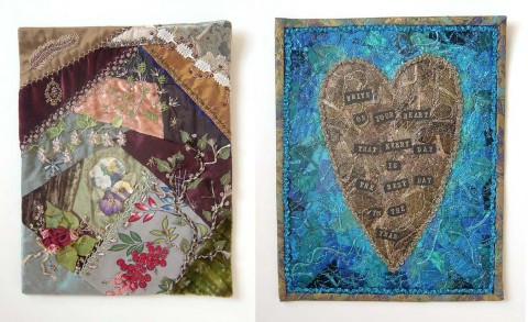 On left: crazy quilt using metallic and silk threads. On right: machine embroidered <a class=