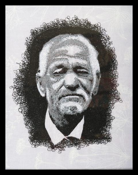James Fox - Portrait - freehand machine embroidery