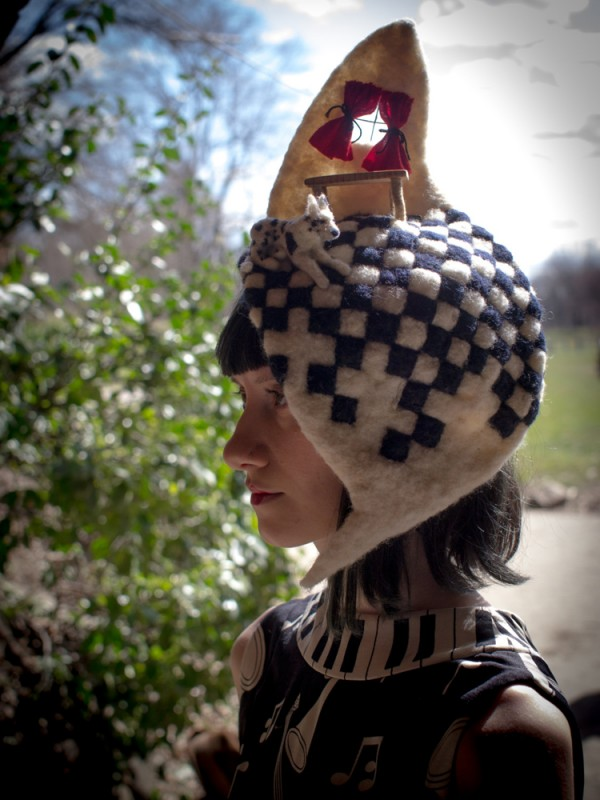 Rae Stimson Kitchen Hat with an amazing square chess board pattern style detail.