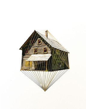Hagar Vardimon van Heummen - Lonely Houses - Embroidery on paper