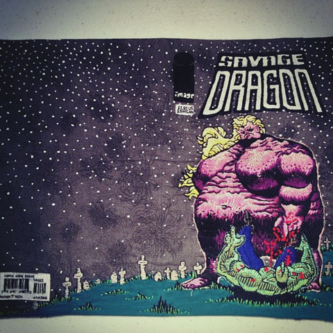 hEisK's hand embroidered Savage Dragon cover
