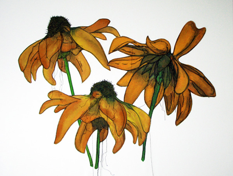 Linda Calverley - Echinacea - Handpainted Echinacea On Fabric, Machine Stitched, Applique